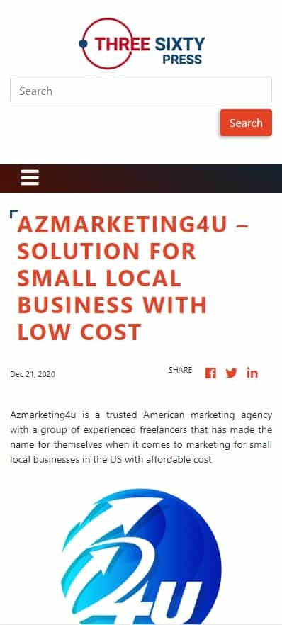 Azmarketing4u - Solution for Small Local Business with low cost